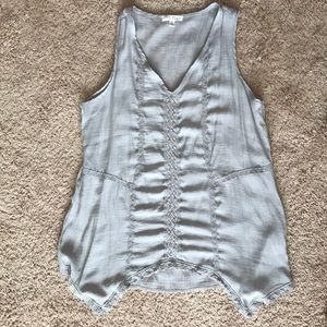 Grey tank with lace trim